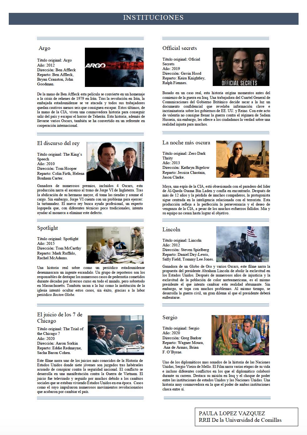 Las instituciones en el cine